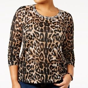 INC International Concepts Leopard Jeweled Sweater